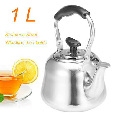 1L Stainless Steel Whistling Tea Kettle Coffee Whistle Kettles Cookware Kitchen