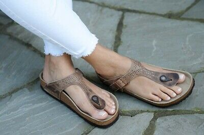 a7c0108165b Birkenstock Sandals Gizeh tabacco crafted rivets brown waxy leather regular  NEW