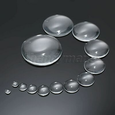 UK STOCK 6~50mm Crystal Clear Round Cabochon Flat Back Glass Dome Jewel Making