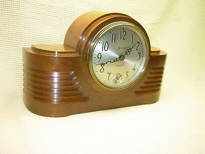 Beautiful Vintage Art Deco Heavy Wood Sessions Mantel Clock