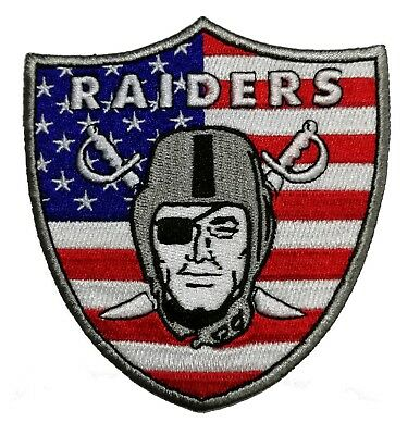 "🔥4"" OAKLAND RAIDERS USA Flag Iron-on Team Logo Jersey PATCH! Raider Nation"