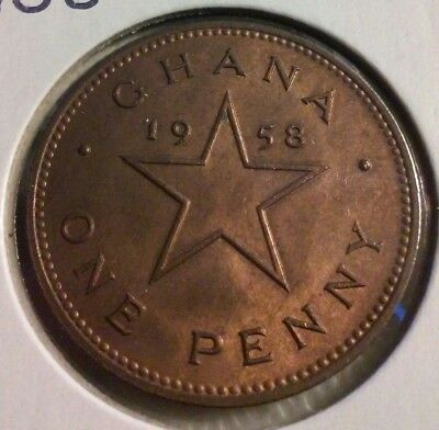 1958 Ghana One Penny Coin - KM#2 - Very sharp details -  (#IN894)