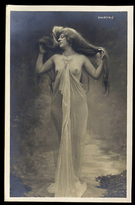 Nude French RPPC Real Photo Postcard Long Hair Beauty Courtesan Phryné 1910s NR