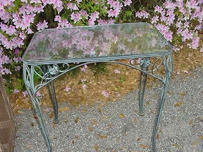"Antique Wrought Iron Glass Top Table 30.50""Long X 20.50"" Wide X 29.50"" High"