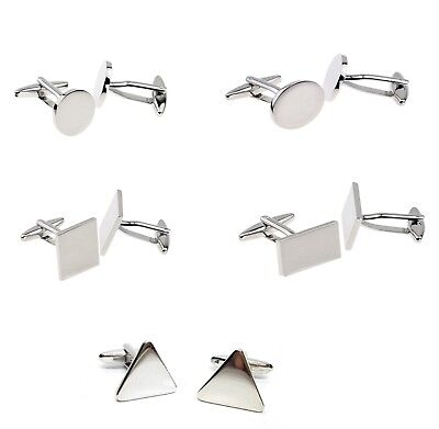 Wholesale 50 x pairs  DE-LUXE  engravable cufflinks rhodium plated cufflinks