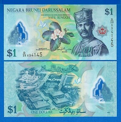 Brunei P-35 One Ringgit Year 2013 Sultan Polymer Uncirculated Banknote