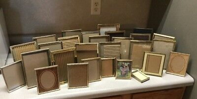 """Vintage Lot of 28 Etched Gold Tone Metal Small Picture Photo Frame 5 x 7"""" Ornate"""