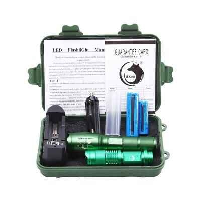8000LM XML T6 Flashlight  Zoomable Tactical LED Torch+18650 Battery+Charger UP