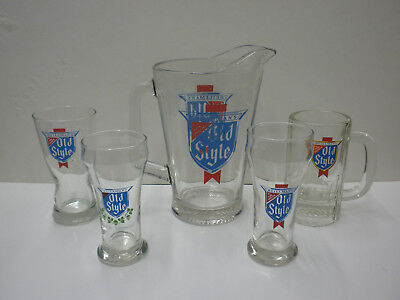 VINTAGE HEILEMAN'S OLD STYLE BEER HEAVY GLASS PITCHER & 4 different glasses.
