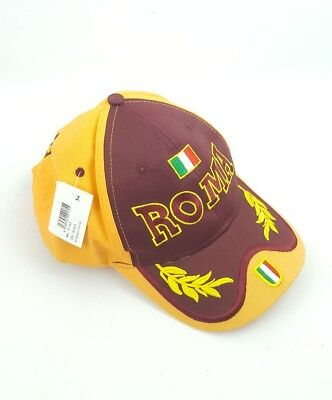 Embroidered Roma Rome Italy Adjustable Cap Hat Football Soccer 54cm Cotton