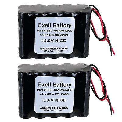 2pc Exell 12V 1000mAh (10xAA) NiCd Battery Pack w/ Wire Leads