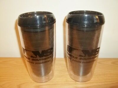 Vtg Lot Of 2 Norfolk Southern Railroad 14 oz Travel Coffee Mugs Cups