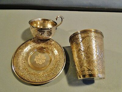 Antique Group Of Persian 84 Solid Silver Articles Beaker, Cup, Saucer Sgnd 180 G