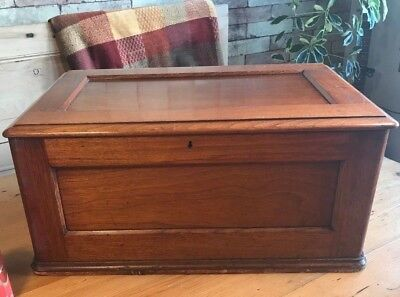 Edwardian (Antique) Mahogany Chest / Deeds Box.Old Wooden Storage Trunk,not pine