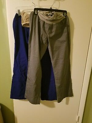 MOTHERHOOD MATERNITY Lot of two SIZE LARGE GRAY and BLUE DRESS PANTS