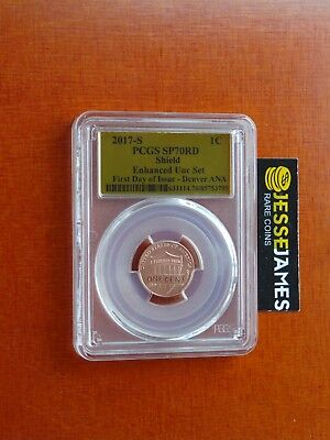 2017 S Enhanced Lincoln Penny Pcgs Sp70 First Day Issue Denver Gold Foil Label