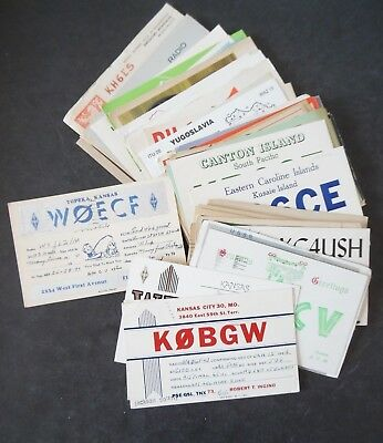 Lot of 70 Vintage QSL Radio Cards & Postcards Mostly 1930s-60s Worldwide