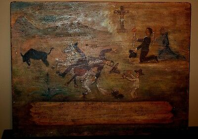 Old Rare Retablo Painting on Wood with Cowboys and Bronc Horse