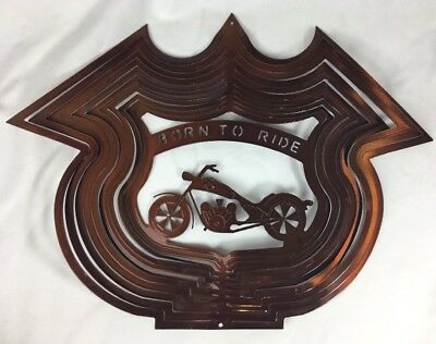 Motorcycle Born to Ride Copper Cut Pierced Metal Hanging Dangling Sign