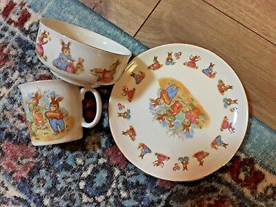 Royal Doulton ? Bunnykins  Porcelain  3 Piece Plate-Bowl-Cup Never Used