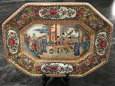 """Antique Hand-painted Chinese Rose Porcelain Qianlong Mark plate 14.5"""" x 10.5"""""""