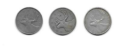 Canada 25c Quarter lot 1944 1947 1960 Silver circulated 3 coins
