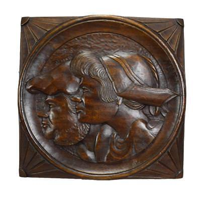 French Antique Hand Carved Rustic Breton Couple Portrait Wood Wall Panel