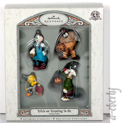2007 TRICK OR TREATING IN OZ Hallmark WIZARD OF Ornaments Looney Tunes SET OF 4