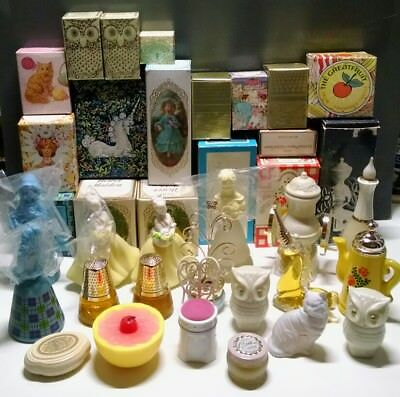 Vintage full Avon lot decanters bottles soap candle collectibles with boxes!