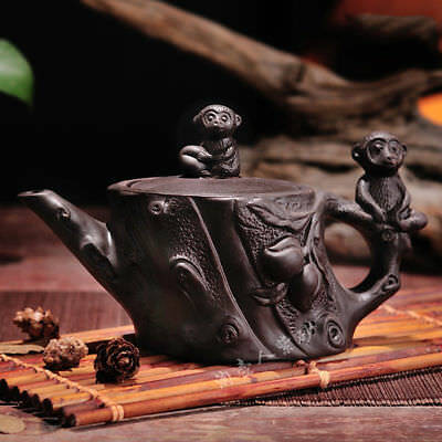 Half handmade YiXing Ceramic teapot kung fu tea set Black Monkey teapot 360cc