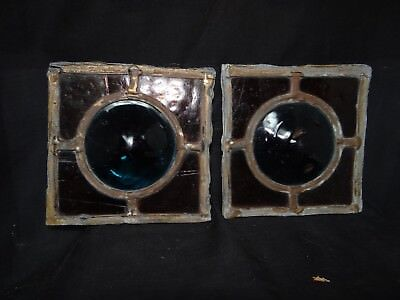 2 old stain glass roundels and surround,4 1/2''x 4 1/2'',great colors!
