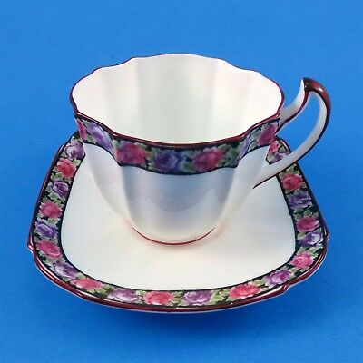 Very Old Royal Paragon with Pink and Purple Rose Border Tea Cup and Saucer Set