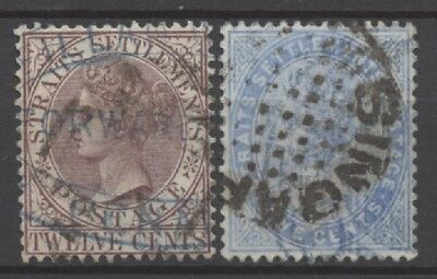 No: 51713 - STRAITS & SETTLEMENTS - LOT OF 2 OLD STAMPS - USED!!