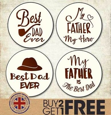 24x 40mm Happy Father's Day Stickers/Cards/Shop Best Dad/Daddy
