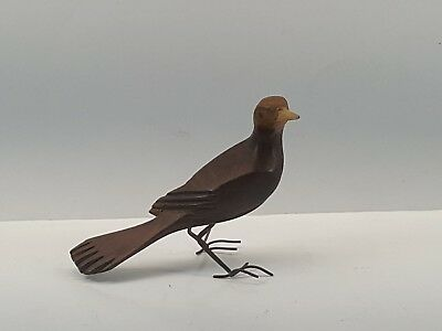 Vintage Folk Art Wood Carving Bird Hand Carved Wooden Copper Feet Finch Standing