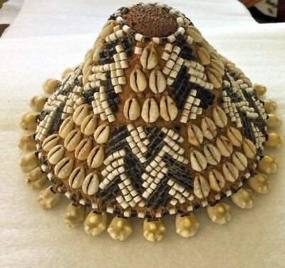 Hat Original Ceremonial Prestige Head Adornment Kuba Beads Cowrie Shell  Ethnix