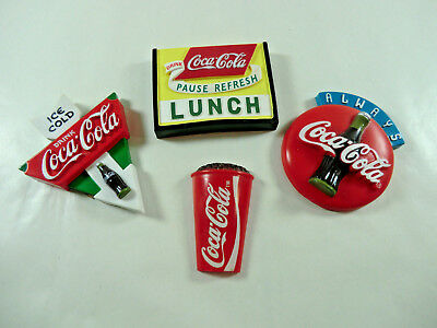 Lot of 4 Vintage Coca Cola Memo Holders Refrigerator Magnets (#7)