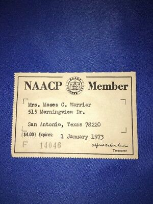 1973 NAACP Membership Card - in Great Condition, Free US Shipping!