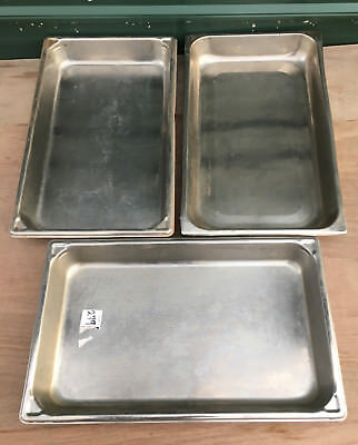 """LOT 3 Stainless Steel Full Size 2.5"""" Deep Steam Table Pans pan buffet 1/2 chafer"""
