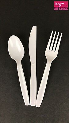 Disposable White Plastic Cutlery Set Spoons Forks Knives Party Server Bulk 12240