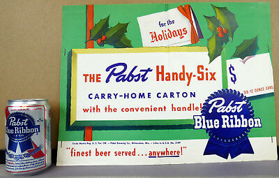 1950 Pabst Blue Ribbon Beer For The Holidays 6-Pack Can Pole Topper Poster