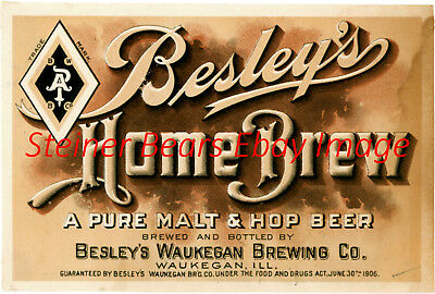 Pre-Prohibition Besley Brewing Co. Home Brew Beer Bottle Label Waukegon IL