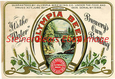 Pre-Prohibition Olympia Brewing co. Olympia Beer Bottle Label Olympia WA