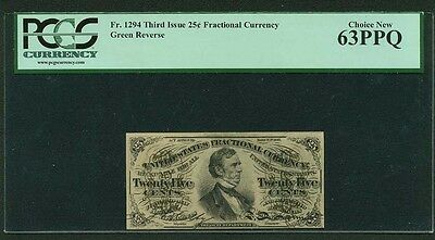 "1864-69  25 Cents Fractional Currency Fr-1294 Certified Pcgs ""choice New-63-Ppq"""