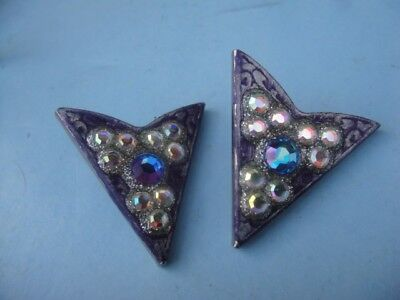 Vintage Collar Tips Silver Tone Nuggets And Rhinestones U.s. Patent