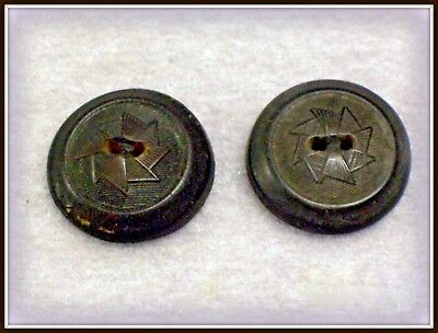 2 Vintage Antique Caen French Molded Horn Buttons L-G-J-&f