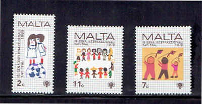 Malta #560-562  1979 Year Of The Child    Mint  Vf Nh  O.g