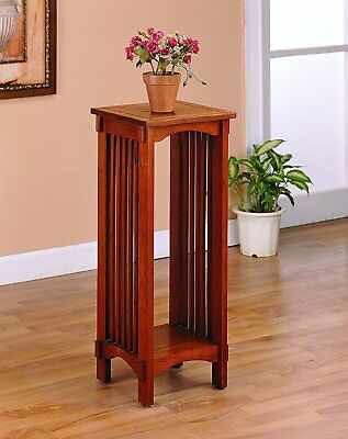 Oak Finish Plant Stand Living Room Mission Style Display Shelf Solid Wood Table