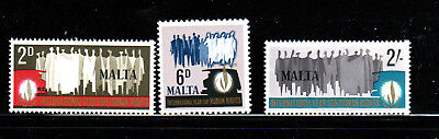 Malta #381-383  1968  Human Rights   Mint  Vf Nh  O.g