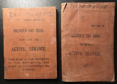 Royal Newfoundland Regt., 2 Wwi Pay Books Dated 1918, #3410 Pte. Cyril G. Stone